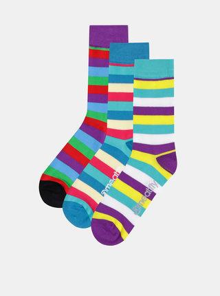 Sada troch párov pruhovaných ponožiek v zelenej a modrej farbe Meatfly