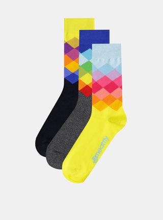 Sada troch párov vzorovaných ponožiek v žltej, modrej a čiernej farbe Meatfly