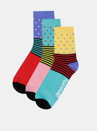 Sada troch párov dámskych ponožiek v zelenej, červenej a rúžovej farbe Meatfly
