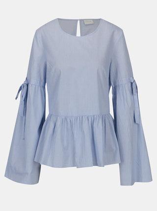 Bluza albastra peplum cu dungi si maneci clopot Vila Vidi