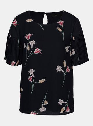 Bluza bleumarin cu print floral si maneci plisate - VERO MODA Elena
