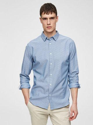 Camasa albastra slim fit cu model Selected Homme Moonie
