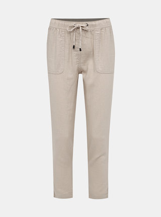 Béžové dámské lněné kalhoty M&Co Petite