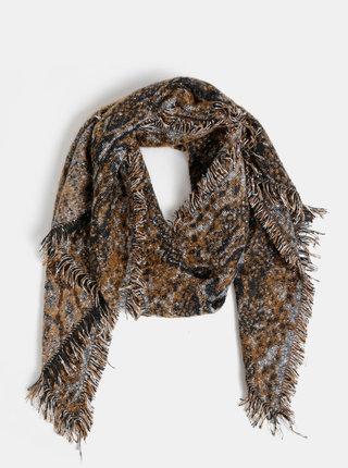 Černo-hořčicová dámská vzorovaná šála Haily´s Lenora