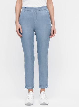 Modré skrátené nohavice s vysokým pásom VERO MODA Maya
