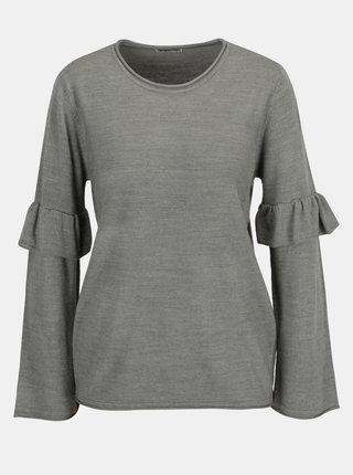Šedý svetr s volány na rukávech Jacqueline de Yong Stardust