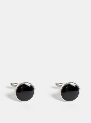 Stříbrno-černé manžetové knoflíčky Avantgard Premium