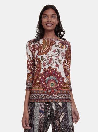 Béžové květované tričko Desigual Xenia