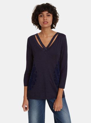 Tmavě modré tričko s potiskem Desigual Lorren