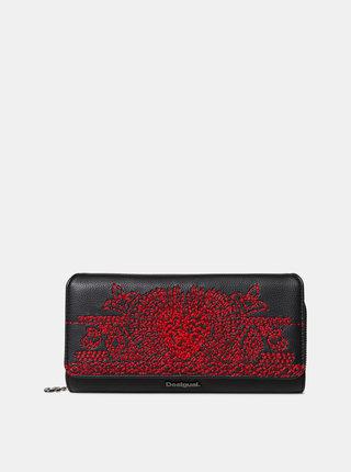 Čierna peňaženka s výšivkou Desigual Breating Heart Maria