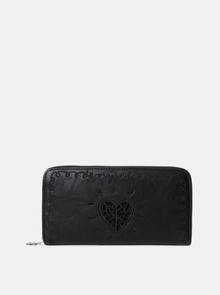 Čierna peňaženka s výšivkou Desigual Around