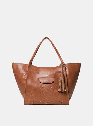 Hnedá kabelka s výšivkou Desigual Zaria