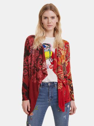 Červený květovaný kardigan Desigual Adriana