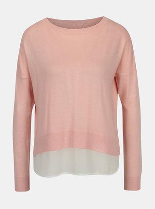 Pulover roz deschis lejer cu funda si camasa cusuta ONLY Rosana