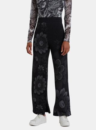 Černé květované třpytivé kalhoty Desigual Lua