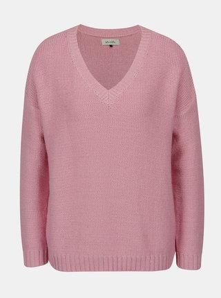 Světle růžový svetr s véčkovým výstřihem Blendshe Jelma