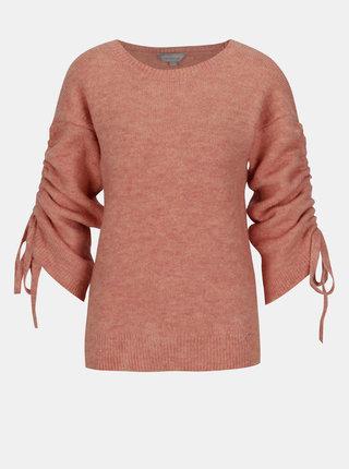 Koralový sveter so sťahovaním na rukávoch Dorothy Perkins Petite