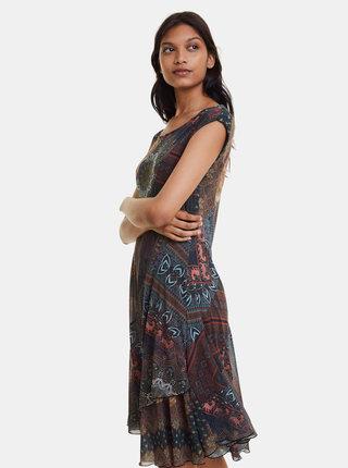 Khaki vzorované šaty Desigual Gaelle