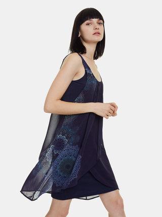 Tmavomodré vzorované šaty Desigual Sevilla