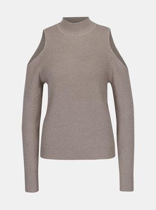 Béžový sveter s prestrihmi na ramenách VILA Heida