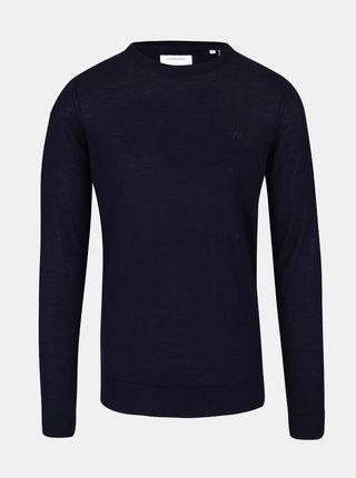Tmavě modrý lehký vlněný basic svetr s dlouhým rukávem Lindbergh