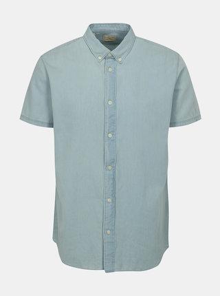 Světle modrá košile s krátkým rukávem Selected Homme Solid