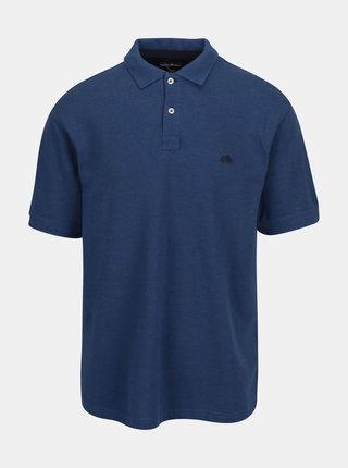 Modré basic polo tričko s výšivkou loga Raging Bull