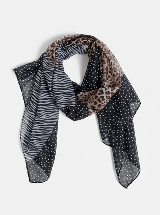 Hnedo-čierna šatka s leopardím vzorom Dorothy Perkins