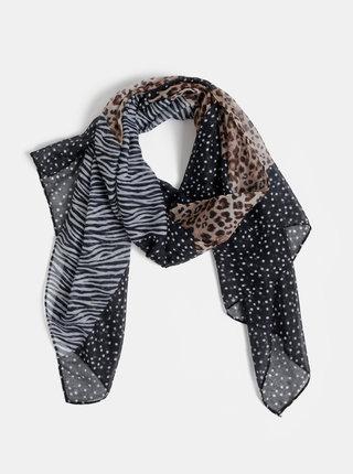 Hnědo-černý šátek s leopardím vzorem Dorothy Perkins