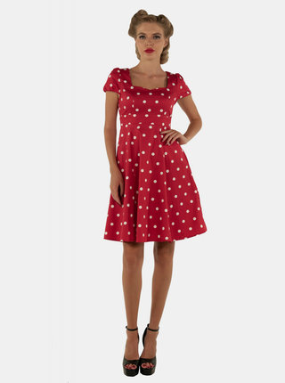 Červené puntíkované šaty Dolly & Dotty Claudia
