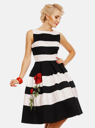 Černo-bílé pruhované šaty Dolly & Dotty Annie