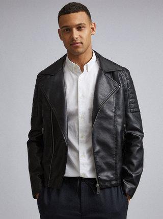 Černý koženkový křivák Burton Menswear London