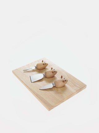 Set de trei cutite de branza in forma de soricel Kikkerland
