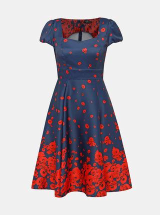 Červeno-modré květované šaty Dolly & Dotty Claudia