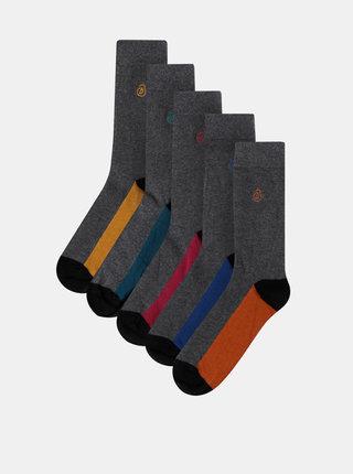 Sada piatich párov šedých ponožiek Burton Menswear London