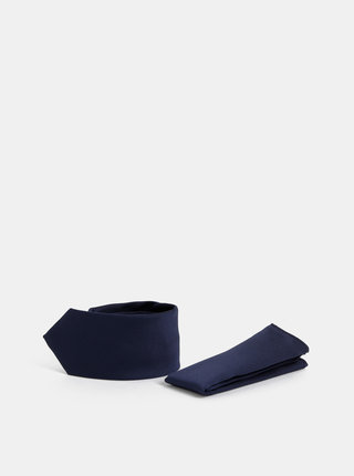 Tmavě modrá slim kravata s kapesníčkem Burton Menswear London