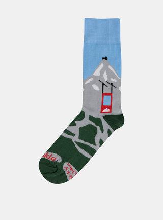 Modro-zelené ponožky s motivem hor Fusakle Lomničák