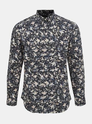 Tmavomodrá vzorovaná slim fit košeľa Selected Homme Pen