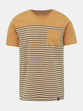 Žlté pruhované tričko s vreckom Shine Original