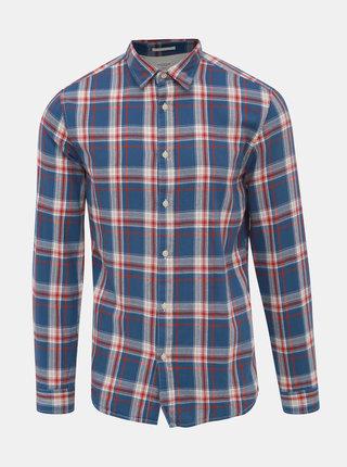 Modrá kockovaná slim fit košeľa Selected Homme Wood