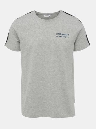Svetlošedé žíhané tričko s potlačou Lindbergh