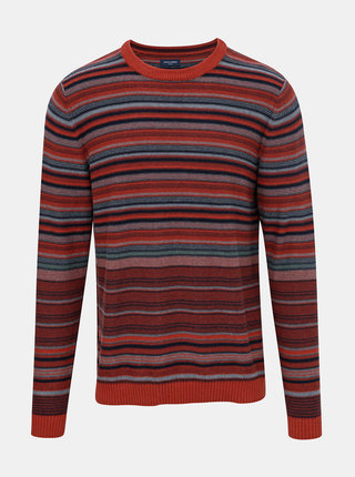 Tehlový pruhovaný sveter Jack & Jones Jaxon