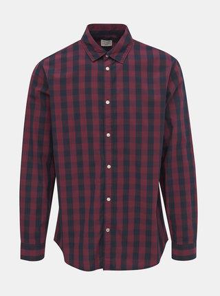 Vínová kostkovaná košile Jack & Jones Gingham