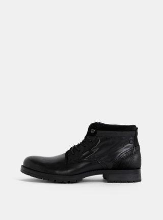 Černé pánské kožené kotníkové boty Jack & Jones Harry