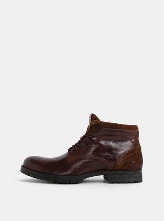 Hnědé pánské kožené kotníkové boty Jack & Jones Harry