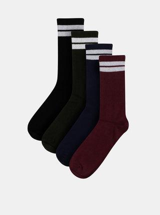 Sada štyroch párov ponožiek v modrej, zelenej a vínovej farbe Jack & Jones Bellamy