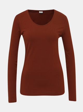 Hnedé basic tričko Jacqueline de Yong Ava