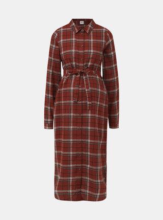Hnědé košilové kostkované šaty Mama.licious Avia