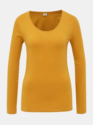 Hořčicové basic tričko Jacqueline de Yong Ava
