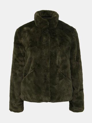 Tmavozelený krátky kabát z umelej kožušiny ONLY Vida